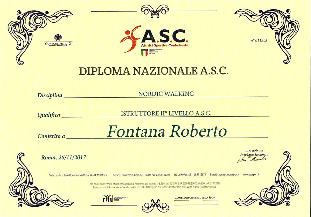 Attestato Roberto Fontana Istruttore Nazionale Nordic Walking II livello ASC