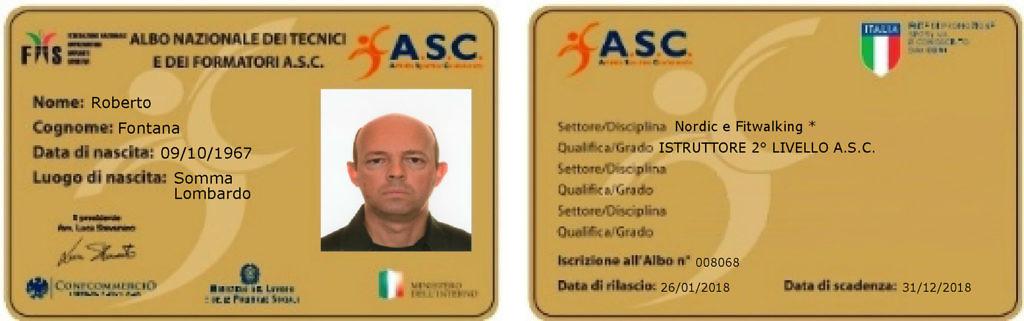 Tesserino Roberto Fontana Istruttore Nazionale Nordic Walking II livello ASC