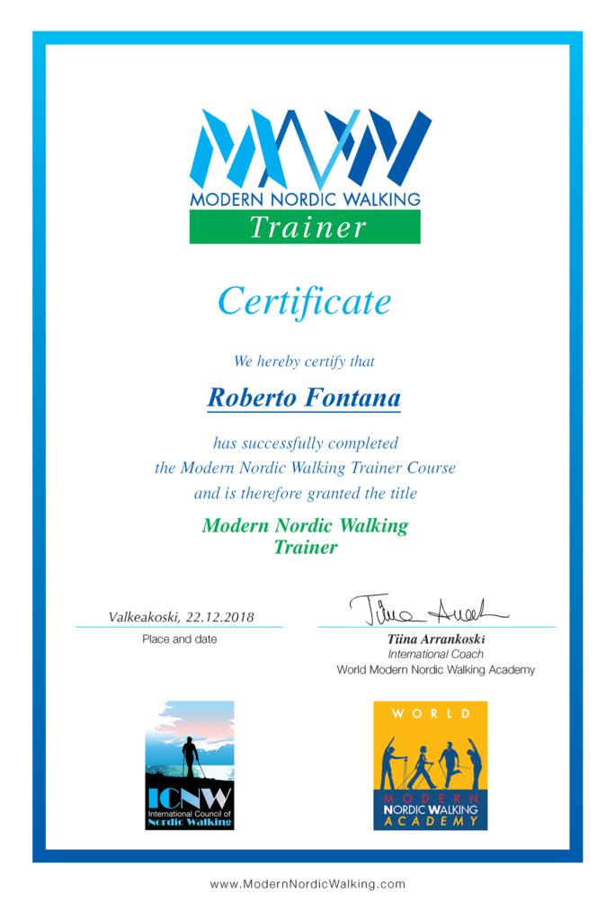 Roberto Fontana Istruttore Attestato MNW Modern Nordic Walking Trainer - Tiina Arrankoski - Tuomo Kettunen